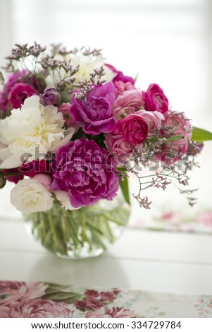 Beautiful Flowers Glass Vase On Table Stock Photo Edit Now