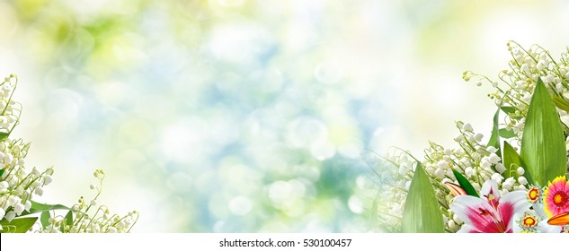 Beautiful flowers lily and lily of the valley. floral background.