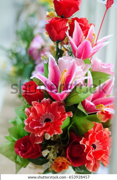 Beautiful Flowers Mixed Red Pink Colors Stock Photo (Edit