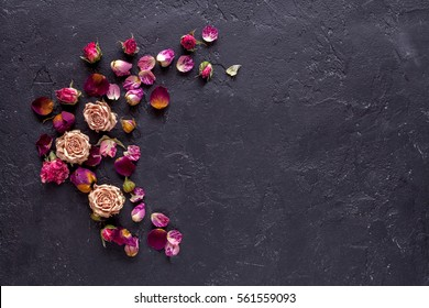 Beautiful flowers on grunge dark background