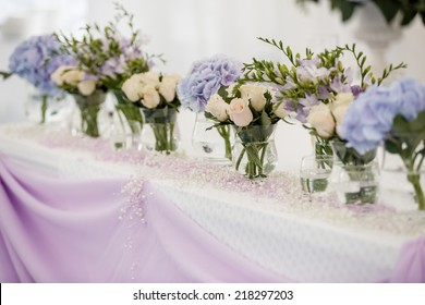 Beautiful flowers on table in wedding day