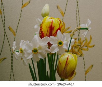 Beautiful flowers on the wall background in home room
