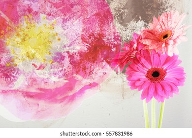 Beautiful flowers on watercolor background