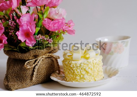 Beautiful Flowers On Wooden Table White Stock Photo Edit Now