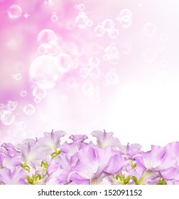 Beautiful flowers spring garden background witch soap bubbles