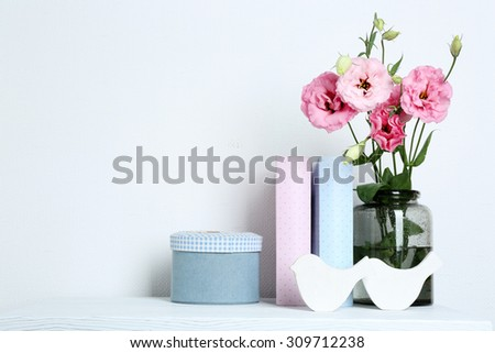 Beautiful Flowers Vase Books On Wall Stock Photo Edit Now