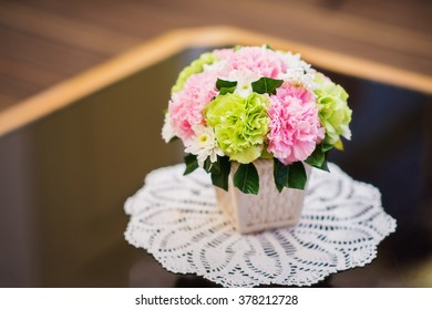 Beautiful flowers vase on the table
