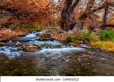 Beautiful Flowing Stepped Waterfalls Along the Guadalupe River Surrounded by Beautiful Fall Foliage, Texas.