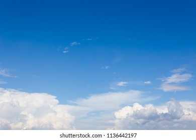 Beautiful fluffy clouds on a blue sky background