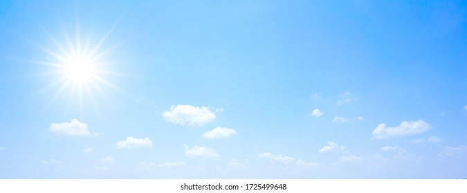 Beautiful fluffy sky with energetic sun in the summer