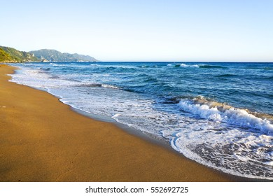 Beautiful foam and froth in the sea of mediterranean greece