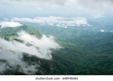 beautiful fog forest mountains landscape. Travel background
