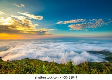 Beautiful fog in the morning at Phu tub berk, Phetchabun, thailand.
