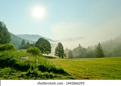 Beautiful foggy morning scenery in Alps region, Austria