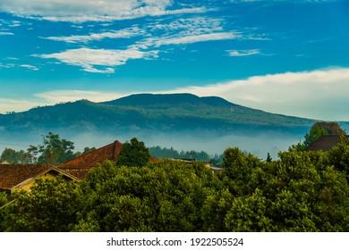 beautiful foggy morning view of Tangkuban Perahu mountain in Lembang, Bandung, West Java, Indonesia