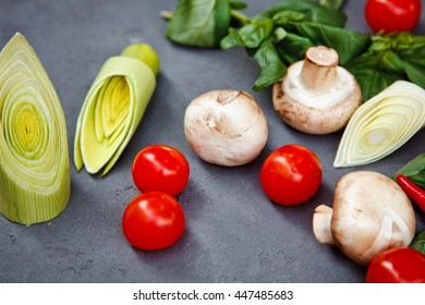 Beautiful Food Background fresh vegetables and Basil