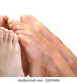 Beautiful a foot of three girls, isolated on a white background, please see some of my other parts of a body images