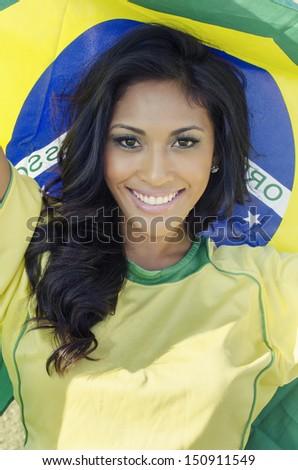 Beautiful soccer fan brazil