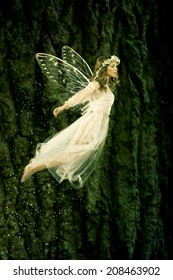 Beautiful forest fairy in flight
