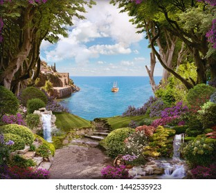 Beautiful forest with flowers, waterfalls and access to the sea. Digital fresco