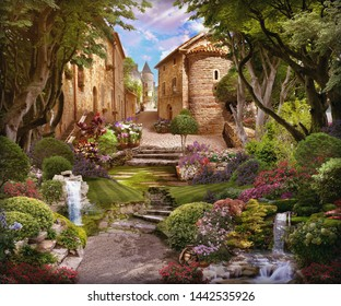 Beautiful forest with flowers, waterfalls and access to the old street. Digital fresco
