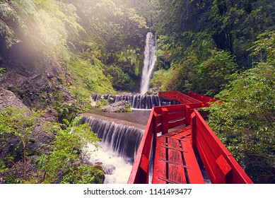 Beautiful forest landscape and a view of the waterfall and the river. Thermal volcanic springs  Termas Geometricas. Near Conaripe and Pucon town and Villarica volcano. Chile.