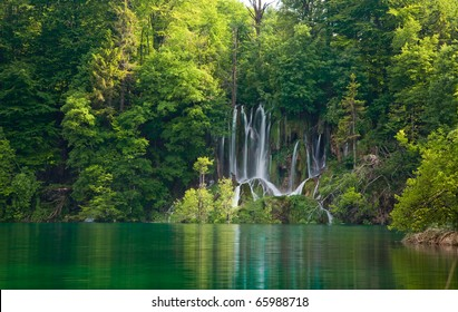 Beautiful forest waterfall during spring. Plitvicka jezera. Croatia