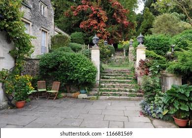 Beautiful Formal Garden Courtyard Background