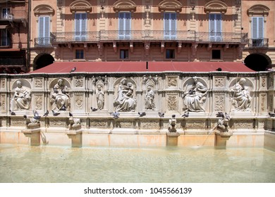 Beautiful fountain Fonte Gaia (Fountain of Joy) on central square Piazza del Campo of Siena, Tuscany, Italy.