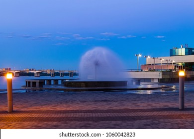 Beautiful fountain in the form of a ball near the river Dnieper in the Dnepr city at night . Dnepropetrovsk, Dnipropetrovsk, Dnepr, Ukraine