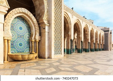 Beautiful fountain at the mosque Hassan second, Casablanca, Morocco