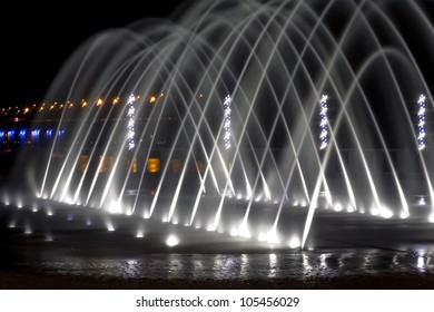 beautiful fountain in  night on the town quay