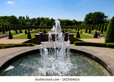 Beautiful fountain, public park of the Abbey Kamp, Germany