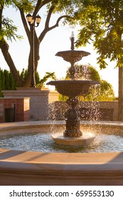 Beautiful fountain at sunrise in the park, sparkling water, freshness, nature, beautiful park, lifestyle