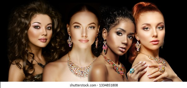 Beautiful Four models girls with set of Jewelry. Luxury girls in shine jewellry: Eearrings, Necklace, and Ring. Women in jewelry from Gold, Precious Stones, Siamonds. Beauty and accessories.