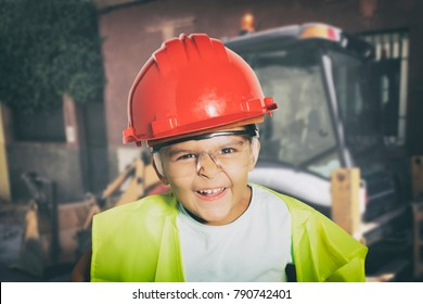 Beautiful four years girl dressed like a worker making faces on yellow background
