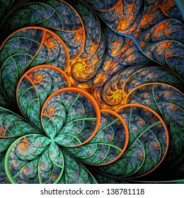 Beautiful fractal flower in green and yellow. Computer generated graphics.