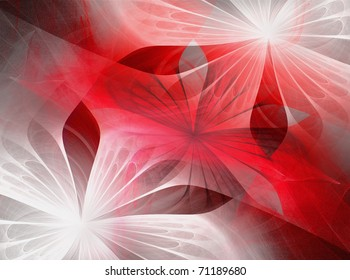 Beautiful fractal flowers red, black and white