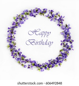 Beautiful fragile spring violets on a white background close up. Happy birtday card