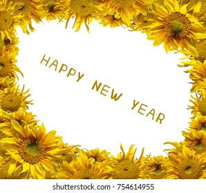 Beautiful frame of colorful sunflowers with sunflower letter arrange in the words Happy New Year, clipping path included.