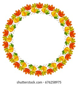 Beautiful  frame with fallen leaves. Raster clip art.