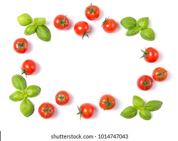 Beautiful frame made of fresh cherry tomatoes with basil leaves, isolated on white background, vegetable pattern, top view