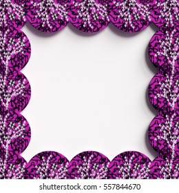 Beautiful frame for your text, tree, branches, circles, white, purple 3D illustration, 3D rendering.