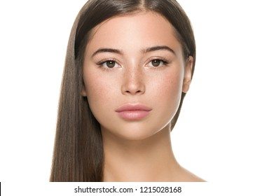Beautiful freckles woman with healthy skin and hair long smooth brunette hairstyle cosmetic concept isolated on white