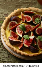 Beautiful french tart with figs, food closeup