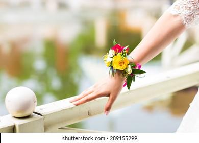 beautiful  fresh floral bracelet for the bride