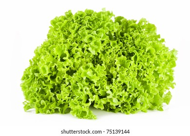A beautiful, fresh, green salad, on a white background.
