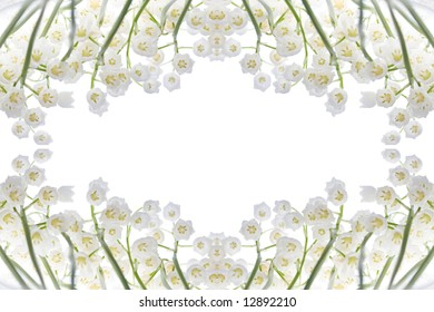 beautiful, fresh lilies of the valley frame isolated on white