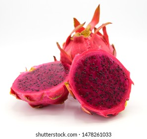 Beautiful fresh red dragon fruit on a white background