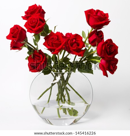 Beautiful Fresh Red Roses Glass Vase Stock Photo Edit Now